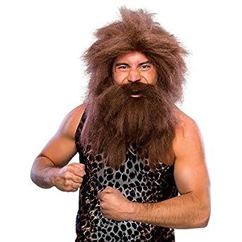 Amazon.com: Caveman peluca y la barba Set Adulto café ...