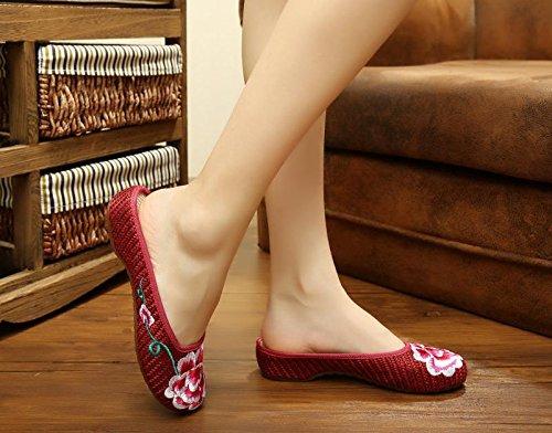 WXT Peonía zapatos bordados, lenguado de tendón, estilo étnico, flip flop femenino, moda, cómodo, sandalias red wine