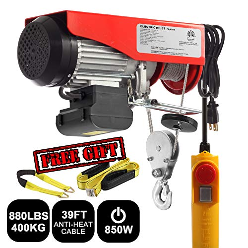 Partsam 880 lbs Lift Electric Hoist Crane Remote Control Power System, Zinc-Plated Steel Wire Overhead Crane Garage Ceiling Pulley Winch w/Premium Straps (UL/CUL Approval, w/Emergency Stop Switch) - Electric Power Chain Hoists
