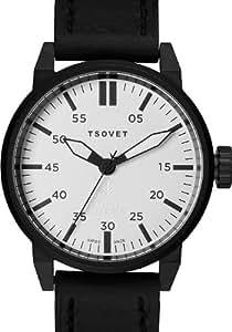 Tsovet SVT-FW44-330110-02 - Reloj analógico de cuarzo para hombre, correa de cuero color negro