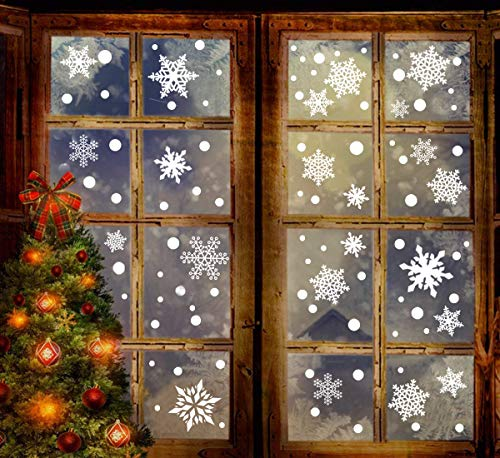 306PCS Christmas Snowflake Window Clings Decal Wall Stickers - Xmas/Holiday/Winter Wonderland White Party Decorations Supplies(6 Sheets) (Winter Wall Decorations)