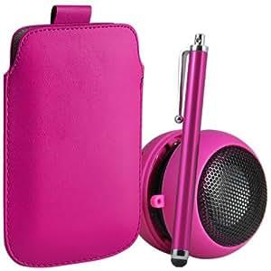 ONX3 4-IN-1 BUMPER SET REGALO - Nokia 515 PU Leather Case Tire de la lengüeta de protección bolsa, 3,5 mm mini altavoz portátil Cápsula, High capacitivo Stylus Pen & LCD Protector de pantalla (Hot Pink)
