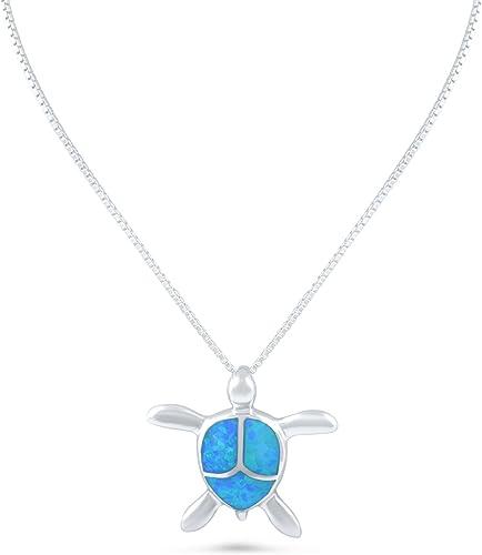 CloseoutWarehouse Simulated Opal Sea Turtle Pendant Sterling Silver