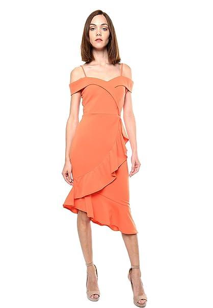 People Simple Para Naranja Vestido Mujer Con Olán YW2HE9ID