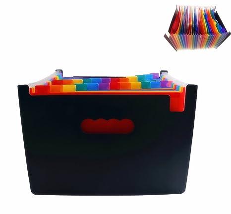 tokept expansión archivos gran capacidad acordeón color carpeta elástico Extended 24 Entramado caja organizador de papel