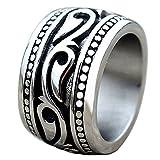 Men's Heavy Wide Vintage Titanium Stainless Steel Ring Black Silver Punk Celtic Wedding Band US7-14