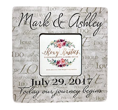 Rustic Decor Personalized Desktop Picture Frame Featuring Family Name and Wedding Established Date with Custom Quote, 8''x8'' Frame Fits Cropped 4x6 or 5x7 Photo