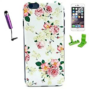 WQQ Rose Flower Pattern PC Hard Case with Stylus Pen and Screen Protector for iPhone 6