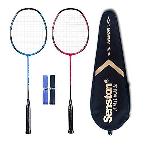 Senston - High Grade 2 Player Graphite Badminton Racket Set - Including 1 Badminton Bag/2 Rackets/2 Grip