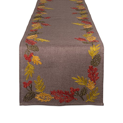 DII CAMZ10647 Embroidered Shimmering Leaves-Perfect for Fall, Thanksgiving, Catering Events, or Everyday Use1 14x70, Table Runner