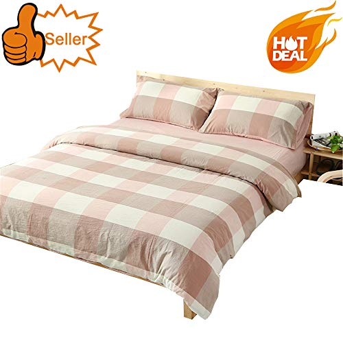 OTOB Reversible Pink and White Gingham Grid Geometric Duvet Cover Queen Cotton with 2 Pillowcases Zipper Closure for Teens Girls Boys Adult, Children Full Size Bedding Sets Checkered Plaid - Gingham Pink Comforter