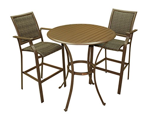 Panama Jack Outdoor Island Cove Woven 3-Piece Slatted Pub Table Set, Includes 2 Stationary 30-Inch Barstools and 36-Inch Pub Table (Lawn Table)