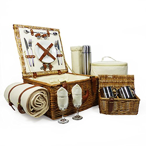 Luxury Quality Harpenden 2 Person Wicker Picnic Basket