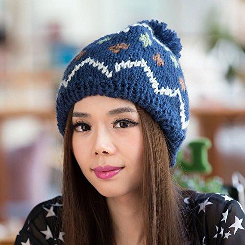 Maozi Salvajes Punto BLUE Hechizo y Invierno Color de de Lana el Tapa diseño señoras otoño Blue de TfTqw4FB