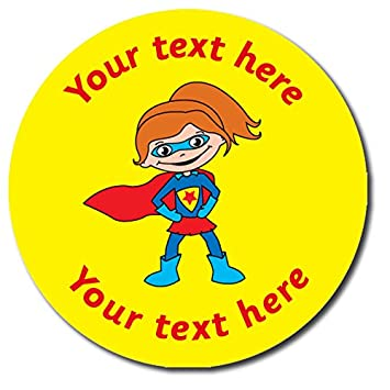 Personalised super girl yellow stickers 37 millimetres x 35 primary teaching services
