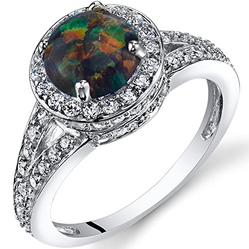 Peora Created Black Opal Halo Ring Sterling Silver 1.00 Carats Size 9
