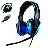 Accessory Power ENHANCE Blue LED PC Gaming Headset GX-H1 with UPGRADED Virtual 7.1 Surround Sound & Adjustable Mic - Works With EVOLVE, League of Legends, DOTA 2 and many more!