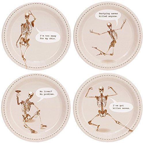 BirthdayExpress Halloween Skeleton Party Supplies Appetizer Cake Plates (32) -