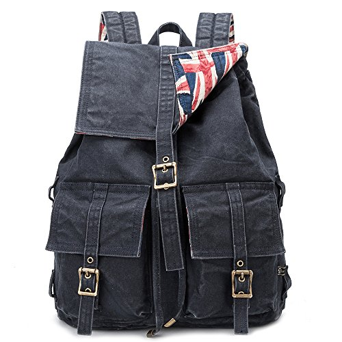 BUG Vintage Canvas Backpack Fashion Retro Style laptop Rucksack for Man and Women (nave - Male Retro Style