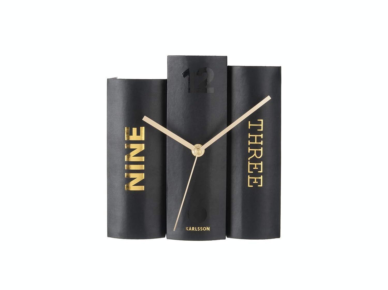 Karlsson Tischuhr Book Papier Schwarz-Gold Buch B/ücher Black-Gold Uhr Special Design