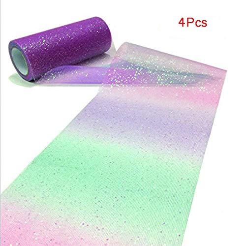 Csdtylh 4 Pcs Polychromatic Tulle Roll Spool Fabric 15cm × 10 Yards Table Runner Chair Sash Bow tutu trim Bridal Wedding Party DIY Decoration Atmosphere