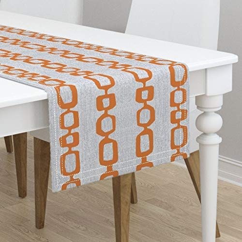 entury Mid Century Modern Mid Century Print Mid Century Mod Links Orange by Jenlats - Cotton Sateen Table Runner 16 x 108 ()
