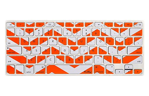 Kuzy Orange Chevron Zig-Zag Keyboard Cover for MacBook Pro 13 15 17 (with or w/out Retina Display) iMac and MacBook Air 13 Silicone Skin - Orange