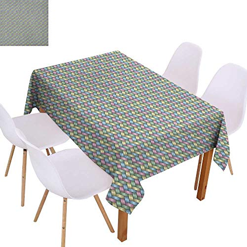 Party Decoration Tablecloth Abstract,Woven Soft Colored Geometric Stripes Crisscross Pattern Ornate Traditional Design,Multicolor,for Banquet Decoration Dining Table Cover 60