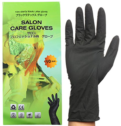 Dye Glove (Black Reusable Latex Glove, Salon Hair Color Dye Gloves-Medium size (Pack of 10))