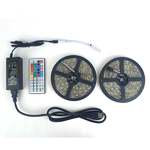 LEDniceker 2 Reels 12V 32.8ft Waterproof Flexible RGB 5050 LED Strip Light Kit, Multi-colored, SMD5050 300 LEDs, LED Strip Kit & MINI 44-key IR Controller + 12V 5A Power Supply, Adhesive Light Strips