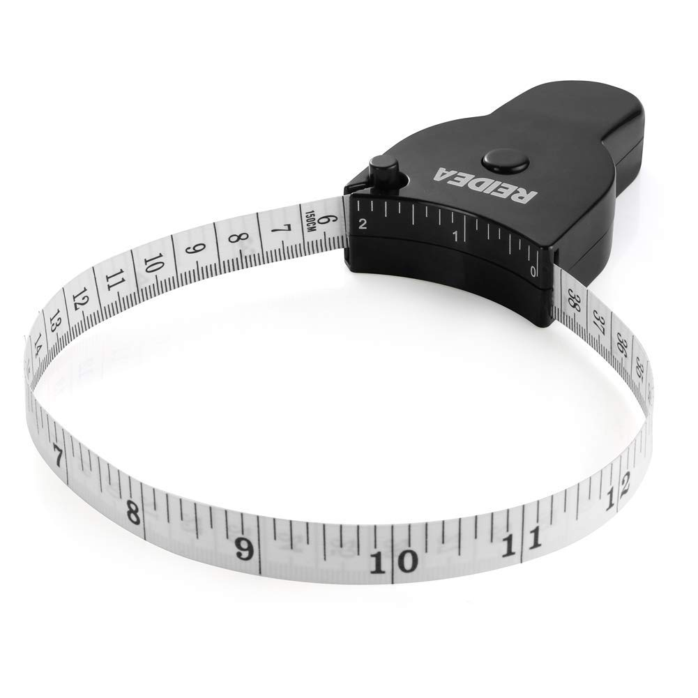 REIDEA 2 Pack Measuring Tape for Body 60 inch (150cm), Portable Lock Pin and Push-Button Design for Weight Loss or Sewing Tailor Fabric Measurements Black by REIDEA