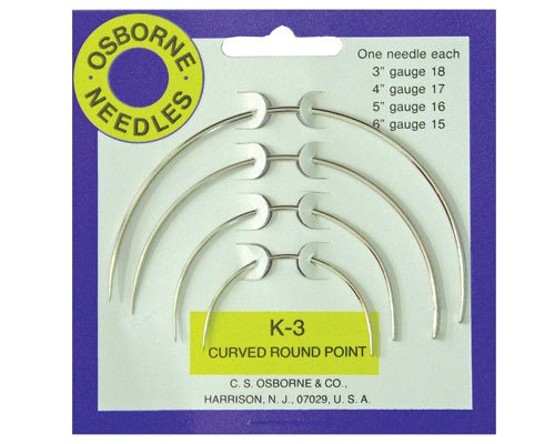 C.S. Osborne & Co. No. K-3 - Curved Round Point Needle Card (4 assorted sized (Osborne Needle)
