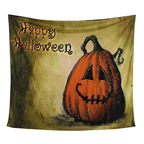 Halloween Tapestry Pumpkin Tapestry Hippie Bohemian Jack O' Lantern Tapestry Creepy Brown Wall Hanging Tapestries Apartment Party Decor Collection Bedroom, Living Room, Dorm Tapestries (Pumpkin) ()