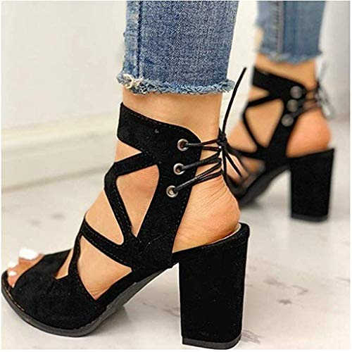 Womens Peep Toe Ankle Strap Sandals,NDGDA Chunky Block Heels Sandals Suede Buckle Mid Heeled Booties