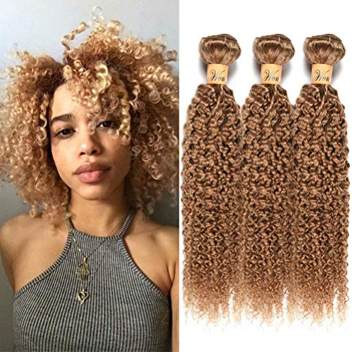 Wome Hair Remy Peruvian Curly Human Hair Bundles 3 Bundles #27 Honey Blonde Kinky Curly Human Hair Weave Weft Extension(12