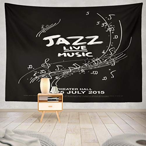 (Deronge Jazz Music Tapestry Wall Art Decor, Tapestry Wall Hanging Decor Jazz Festival Live Music Poster 60