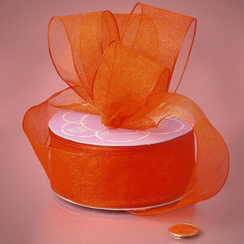Orange Sheer Organza Wired Ribbon, 7/8