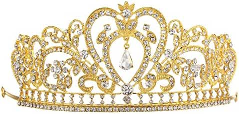 Whitelotous Silver Plated Diamond Jewelry Bride Crown Tiara Bride's Headdress - Gold