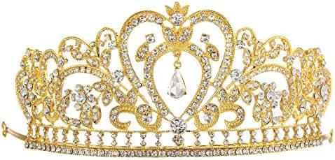 Whitelotous Silver Plated Diamond Jewelry Bride Crown Tiara Bride's Headdress - Gold by Whitelotous