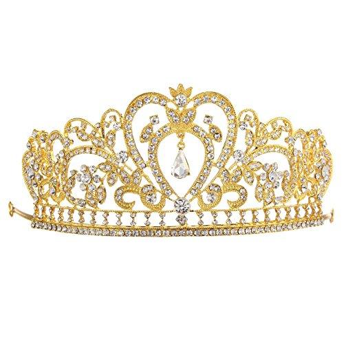 Whitelotous Silver Plated Diamond Jewelry Bride Crown Tiara Bride's Headdress - Gold by Whitelotous ()