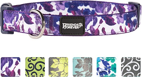Go Girl Hippie (Friends Forever Floral Dog Collar for Dogs, Fashion Water-Paint Pattern Cute Puppy Collar, 14-20