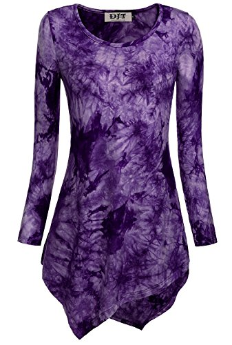 DJT Women's Tie Dyed Hankerchief Hemline Tunic Top Large Purple