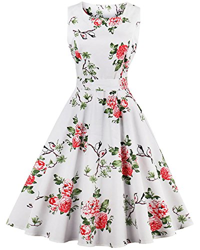 ZAFUL Women's 50s Floral Spring Garden Swing Vintage Party Picnic Cocktail Dress (M, White-2) (Floral Style Dress)