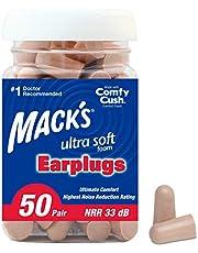 Mack's Ultra Soft Foam Earplugs, 50 Pair - 32dB Highest NRR, Comfortable Ear Plugs for Sleeping, Snoring, Work, Travel & Loud Events