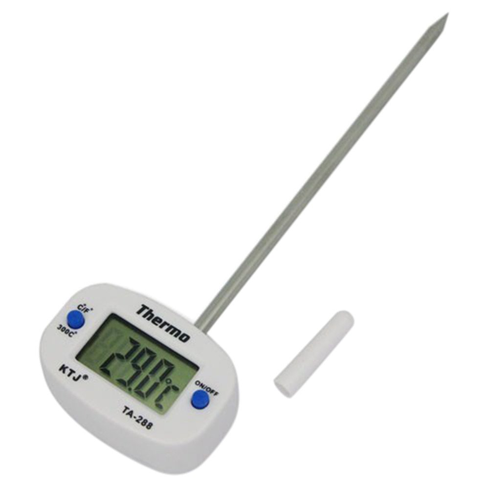 Digital Thermometer Instant Read Meat Thermometer for Grill and Cooking Waterproof BBQ Cooking Thermometer Gauge Meat Food Thermometer for Kitchen (White)