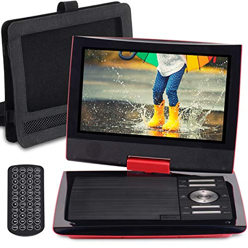 SUNPIN 11 Portable DVD Player with 9.5 inch HD Swivel Screen, Dual Earphone Jack, Supports SD Card/USB/CD/DVD and Multiple Disc Formats, Headrest Mount Holder, Car Charger, Power Adaptor (Red)