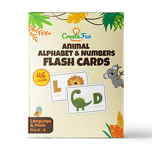 Animal 123 and ABC Flash Cards for Babies, Toddlers, Pre-K and Kindergarten Children | Complete Alphabet in Uppercase and Lowercase with Numbers for Toddler Learning | 46 Extra Thick ()
