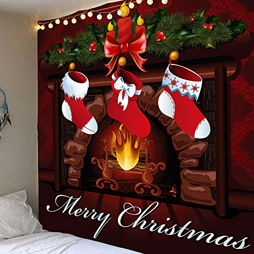 Christmas Eve Decor Tapestry Wall Hanging Christmas Fireplace Red Stocking Socks Tapestry Xmas Merry Christmas Day Tapestry for Decoration Christmas Wreath Candle Tree Ornament Wall Blanket Tapestries by FORHAPPY