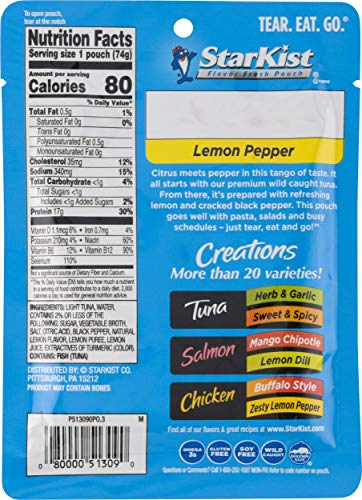 StarKist Tuna Creations, Lemon Pepper, 2.6 oz pouch (Pack of 24) (Packaging May Vary)