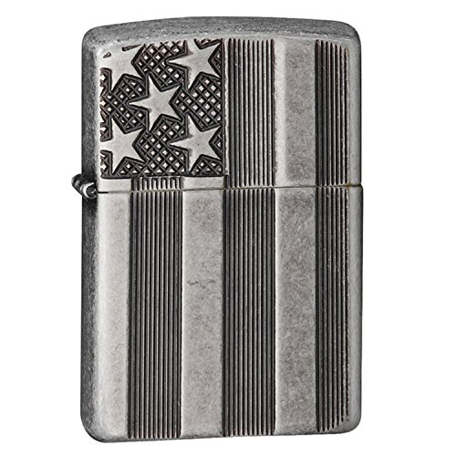 Zippo Armor American Flag Pocket Lighter, Antique Silver ()